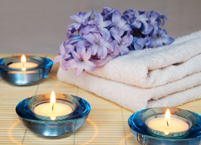 Blue SPA with hyacinth